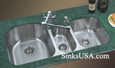 triple bowl stainless steel undermount kitchen sink