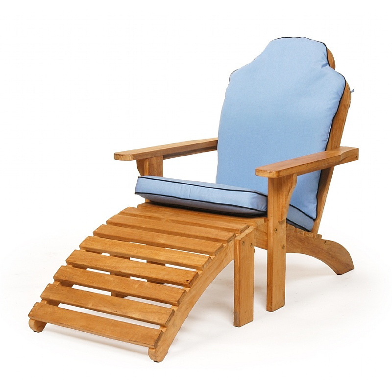 Modern Teak Patio Adirondack Chair with Ottoman