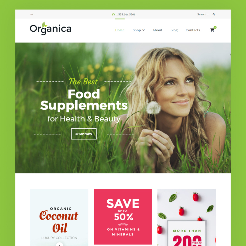 rganic food, cosmetics and bio active nutrition Woocommerce theme